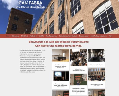 Pàgina web creada pels alumnes de FEDAC Sant Andreu sobre l'antiga fàbrica de Can Fabra, com a treball final del projecte Patrimonia'm.